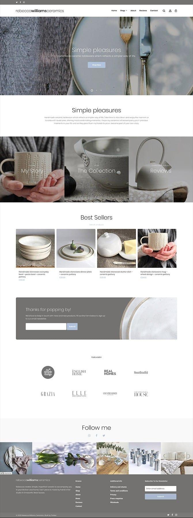 Rebecca Williams Ceramics Website