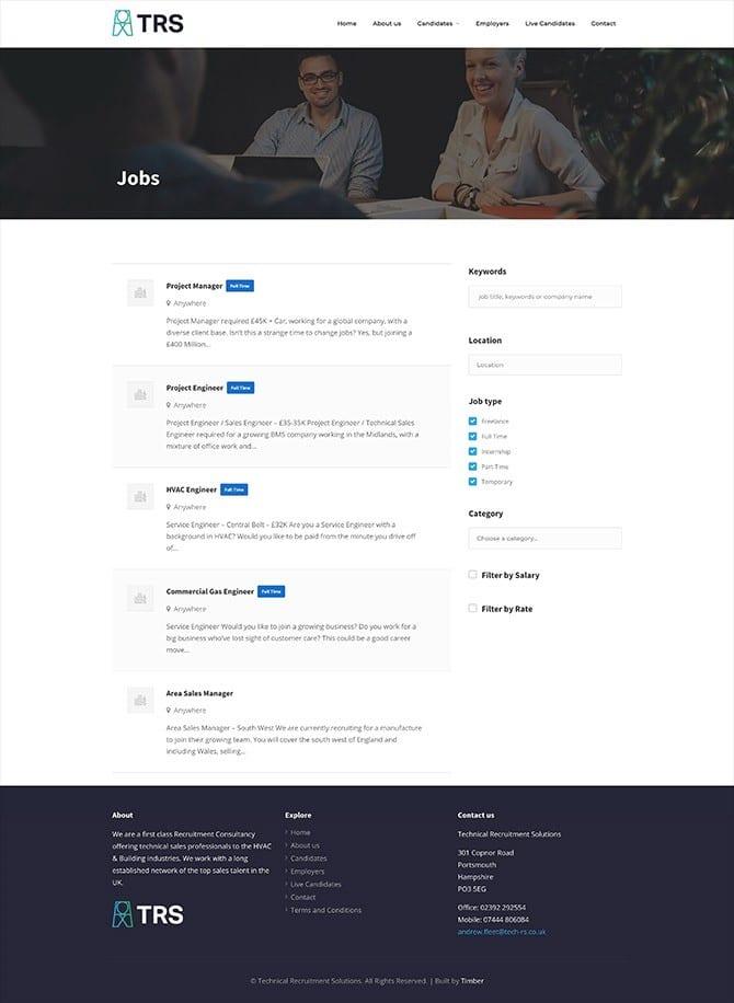 Technical Recruitment Solutions Website
